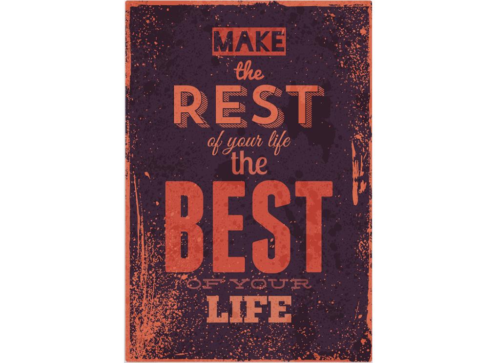 Постер Make the rest Размер A1Постеры<br>Make the rest of your life the best of your life   -   Сделай остаток своей жизни - лучшим в своей жизни  <br>Никогда не поздно начать жизнь   с чистого листа  . Делать то, что Вам там давно хотелось и круто повернуть всё на 180 градусов!<br>Хватит лежать на диване и жаловаться на то, что жизнь проходит совсем не так, как бы Вам хотелось, что Ваша работа Вам не по душе, город давит на Вас, а эти брюки никогда Вам и не шли. <br>Изменить прошлое уже не получится, а вот сделать остаток своей жизни ярче - это запросто!<br>Начните изменения к лучшему с оформления интерьера. Постер  Make the rest  станет лучшим началом для изменений к лучшему!<br><br>Material: Бумага<br>Width см: 59<br>Height см: 84