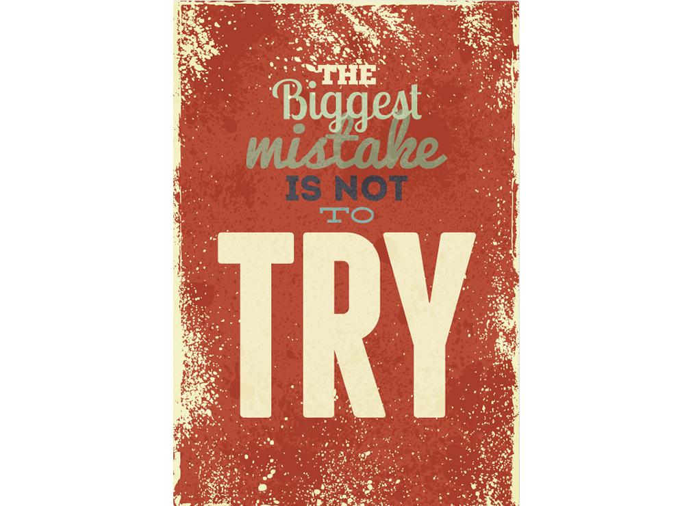 Постер The biggest mistake is not to try Размер A2Постеры<br>Самая большая ошибка - не попытаться  .<br>Можно сделать шаг и оступиться - получишь урок. Можно сделать выстрел, но промахнуться - получишь опыт. Можно не сделать ничего и останешься с тем же, с чем и был. Нет ничего хуже, чем стоять на месте. Нет ничего хуже, чем не попытаться что-то сделать. <br>Эту простую истину уже знают все наши покупатели, присоединяйтесь и Вы.<br>Постеры и картины от PicPaint не просто дарят красоту и уют Вашему дому, они наполняют жизнь смыслом, мотивируют и заряжают хорошим настроением на весь день. Оригинальные, современные, неординарные и стильные.<br>Именно такими и должны быть настоящие подарки.<br><br>Material: Бумага<br>Width см: 42<br>Height см: 59