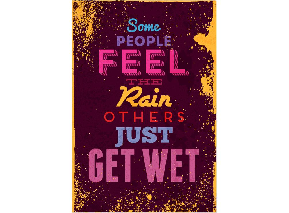 Постер Some people feel the rain others just get wet Размер A2Постеры<br>Некоторые чувствуют дождь, а некоторые просто мокнут  .<br>Этот постер для тех, кто   смотрит в лужу, а видит звезды  ,   чувствует дождь, а не мокнет под ним   и у кого   два тела - одна душа  . То есть для тебя - неутомимый романтик.<br>Серенады под окном и приглашения в кино - это пережиток прошлого. Настоящие романтики теперь дарят оригинальные и стильные подарки от PicPaint.<br>Постер   Some people feel the rain others just get wet   настолько переполнен нежностью и теплом, что способен растопить даже сердце твоей бывшей :)<br>А ещё он прекрасно впишется в любой интерьер и наполнит его любовью, красотой и старой, доброй романтикой.<br><br>Material: Бумага<br>Width см: 42<br>Height см: 59