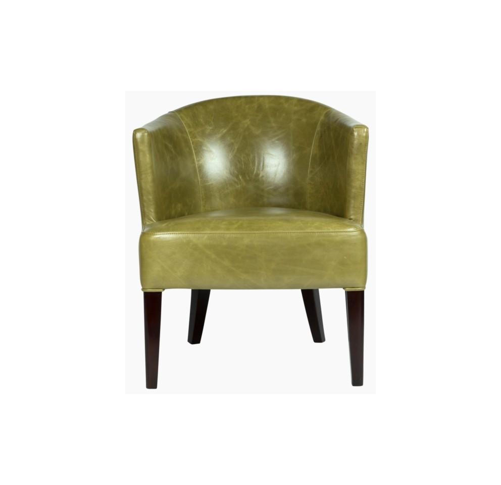 КреслоКожаные кресла<br>Это просторное кресло с удобной полукруглой спинкой выглядит и комфортно, и респектабельно. Обитое «состаренной» натуральной кожей фисташкового цвета и декорированное плотным рядом мебельных гвоздиков, оно производит впечатление предмета «с историей». Устойчиво расставленные ножки из древесины чёрного цвета добавляют образу солидности.<br><br>Material: Кожа<br>Length см: None<br>Width см: 79<br>Depth см: 86<br>Height см: 86