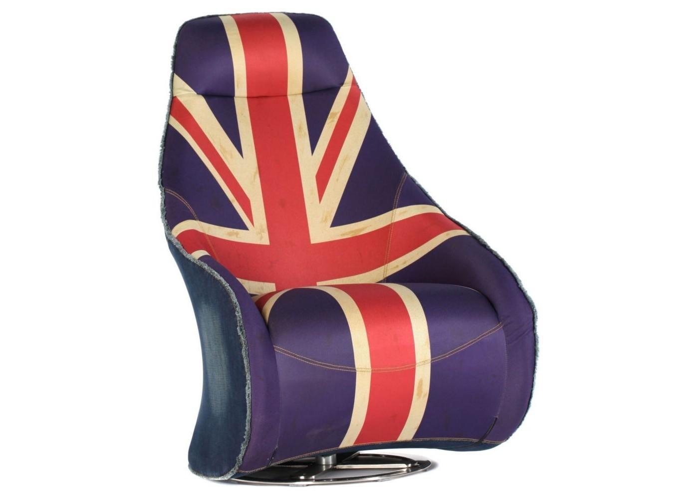 Кресло Deep RotationКресла с высокой спинкой<br>Оригинальное мягкое кресло для англоманов и не только. Тканая обивка с изображением британского флага. Устойчивая круглая металлическая ножка. Узкая спинка кресла, расширяясь книзу, плавно переходит в удобные подлокотники. Кресло стильное и удобное одновременно.<br><br>Material: Текстиль<br>Ширина см: 82<br>Высота см: 108<br>Глубина см: 72