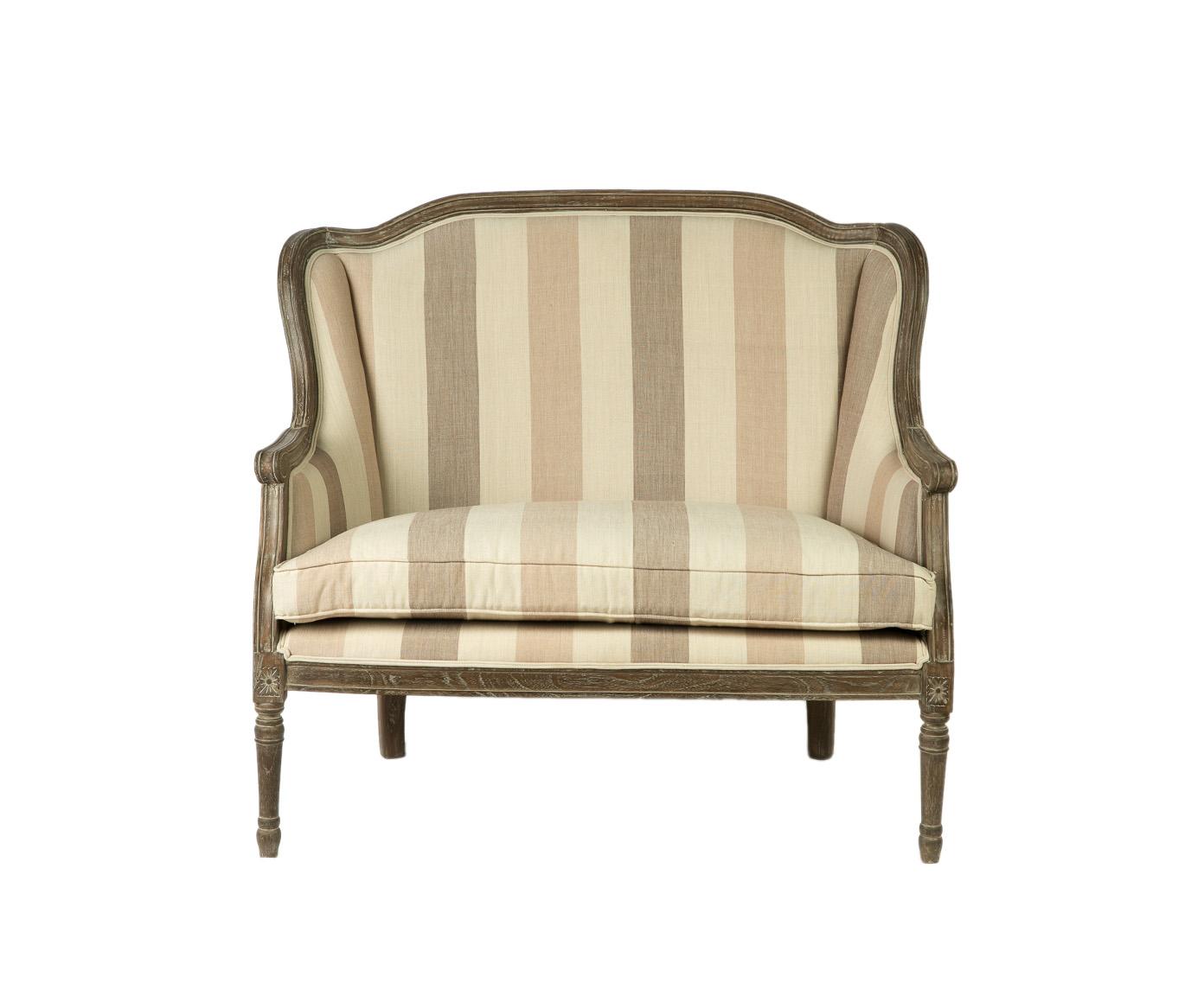 ДиванеткаДвухместные диваны<br>&amp;lt;div&amp;gt;Эта диванетка &amp;amp;nbsp;? &amp;amp;nbsp;золотая середина между креслом и диваном. Она подойдет для романтичного интерьера в духе французской провинции. Хороша будет и в строгой классической обстановке, которую нужно немного &amp;quot;смягчить&amp;quot;. Украшения спинки и подлокотников, а также основание и ножки изготовлены из дорогого красного дерева. Обивка в широкую поперечную &amp;amp;nbsp;полоску сшита из натуральной хлопковой материи.&amp;lt;/div&amp;gt;<br><br>Material: Текстиль<br>Length см: 106<br>Width см: 66<br>Depth см: None<br>Height см: 97<br>Diameter см: None