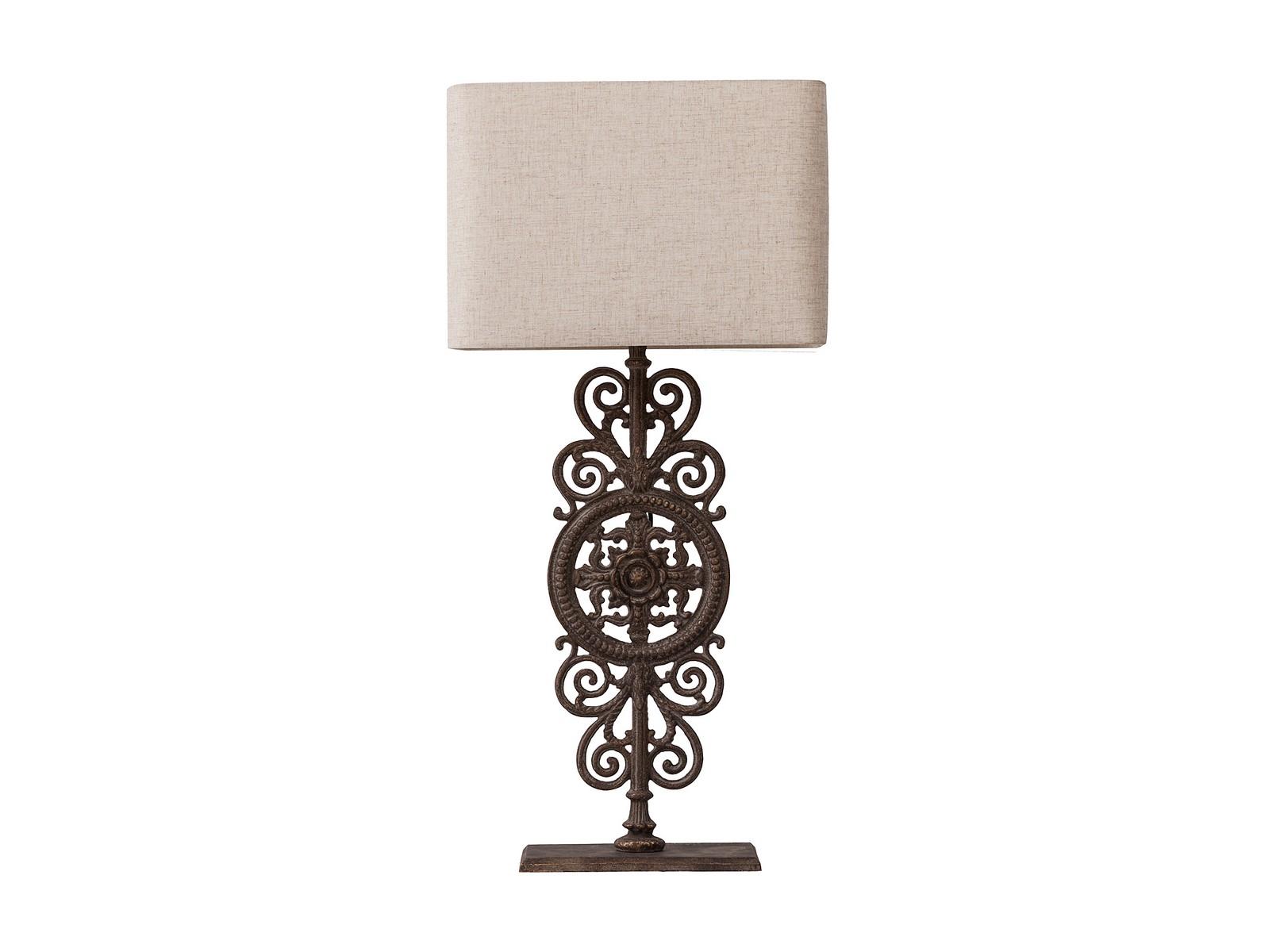 Настольная лампа SofraДекоративные лампы<br>Оригинальная настольная лампа Sofra на металлической ножке с великолепным узором резко контрастирует с простым, оформленным в нейтральном бежевом цвете и строгом стиле абажуром лампы. Создаст уютную обстановку в доме, прекрасно подойдет в качестве подарка, обязательно покорит почитателей всего редкого и необычного. Предназначена для использования со светодиодными лампами.&amp;lt;div&amp;gt;&amp;lt;br&amp;gt;&amp;lt;/div&amp;gt;&amp;lt;div&amp;gt;&amp;lt;div&amp;gt;Вид цоколя: Е27&amp;lt;/div&amp;gt;&amp;lt;div&amp;gt;Мощность лампы: 60W&amp;lt;/div&amp;gt;&amp;lt;div&amp;gt;Количество ламп: 1&amp;lt;/div&amp;gt;&amp;lt;div&amp;gt;Наличие ламп: нет&amp;lt;/div&amp;gt;&amp;lt;/div&amp;gt;<br><br>Material: Металл<br>Width см: 43<br>Depth см: 23<br>Height см: 90
