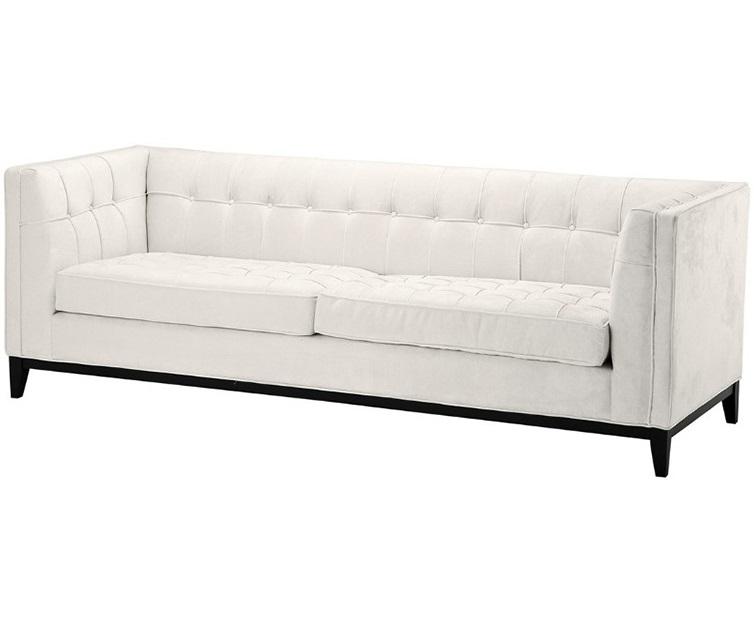 Диван Sofa AldgateТрехместные диваны<br>Не можете найти диван, который будет достоин вас? Этот благородный диван просто создан для самых требовательных натур. Высокие деревянные ножки, стяжка капитоне и обивка цвета слоновой кости прекрасно впишутся в американский буржуазный стиль и сделают интерьер изысканнее, а подлокотники, выполненные на одном уровне со спинкой - интересная деталь, добавляющая уюта вашему отдыху.<br><br>Material: Текстиль<br>Ширина см: 230<br>Высота см: 77<br>Глубина см: 81