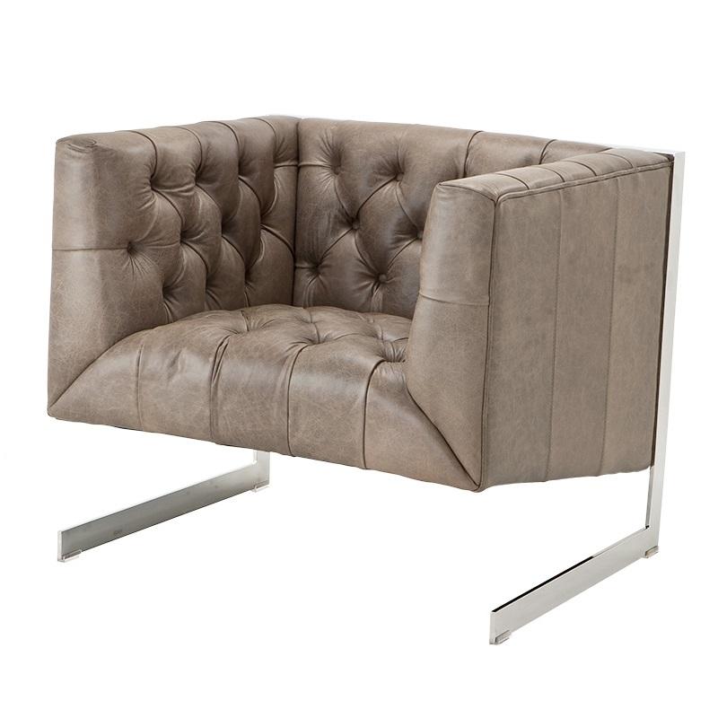 Кресло CrawfordКожаные кресла<br>Металлические ножки стального цвета. Модель выполнена в технике &amp;quot;Капитоне&amp;quot;.<br><br>Material: Кожа<br>Width см: 82.5<br>Depth см: 78<br>Height см: 82