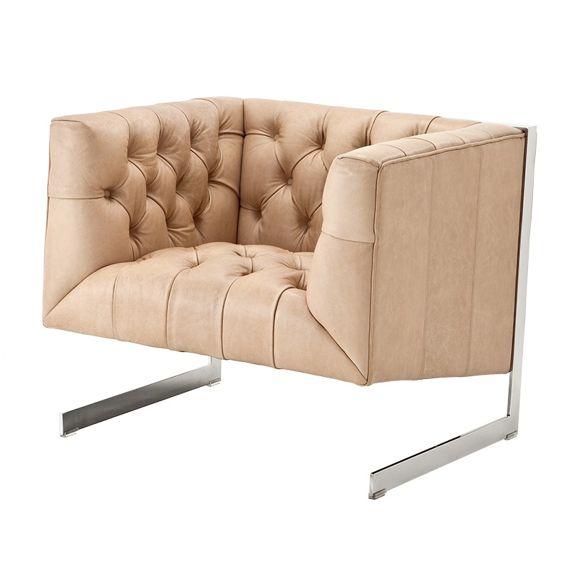 Кресло CrawfordКожаные кресла<br>&amp;lt;span style=&amp;quot;line-height: 24.9999px;&amp;quot;&amp;gt;Металлические ножки стального цвета. Модель выполнена в технике &amp;quot;Капитоне&amp;quot;.&amp;lt;/span&amp;gt;<br><br>Material: Кожа<br>Width см: 82.5<br>Depth см: 78<br>Height см: 82