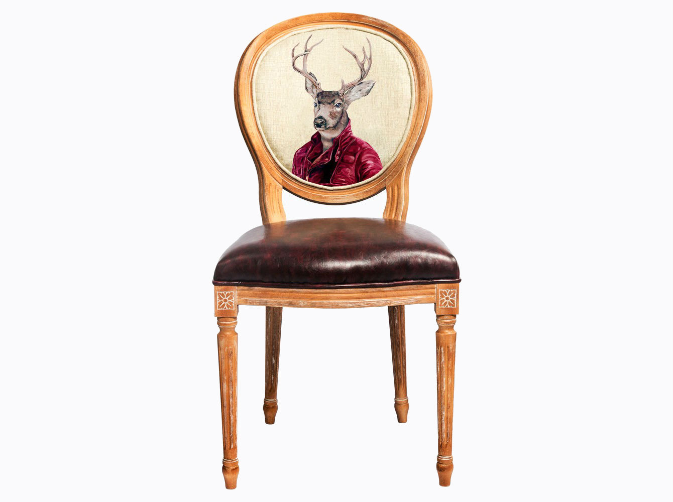 Стул «Мистер Благородный Олень»Обеденные стулья<br>Стул &amp;quot;Мистер Благородный Олень&amp;quot; - универсальное, но отборное решение гостиной, столовой, спальни, кабинета, холла и детской комнаты. Интерьер, одухотворяющий животный мир и сказки, стимулирует позитивный баланс и эмоциональную гармонию Вашего дома. Корпус стула &amp;quot;Мистер Благородный Олень&amp;quot; изготовлен из натурального бука. Среди европейских пород бук считается самым прочным и долговечным материалом. В дизайне &amp;quot;Мистер Благородный Олень&amp;quot; резьба играет ведущую роль: стул обильно украшен изящным цветочным узором, желобками и кольцами, выточенными с ювелирной меткостью.<br>Дизайн стула создан эффектом экстравагантных контрастных сочетаний. Блестящее шоколадное сиденье объединилось со светло-бежевой льняной спинкой, а королевский силуэт эпохи Луи-Филиппа - с рисунком в жанре современного фэнтези.<br>Приобретая такую модель, можно быть уверенными в её эклектичном единстве с роскошным &amp;quot;ренессансом&amp;quot; и изнеженным &amp;quot;ампиром&amp;quot;, аскетичным &amp;quot;модерном&amp;quot; и салонным &amp;quot;ар-деко&amp;quot;.<br>Благородная фактура натурального дерева вселяют атмосферу тепла, спокойствия и уюта.&amp;lt;div&amp;gt;&amp;lt;br&amp;gt;&amp;lt;/div&amp;gt;&amp;lt;div&amp;gt;&amp;lt;span style=&amp;quot;line-height: 24.9999px;&amp;quot;&amp;gt;Материал обивки: экокожа.&amp;lt;/span&amp;gt;&amp;lt;br&amp;gt;&amp;lt;/div&amp;gt;<br><br>Material: Дерево<br>Width см: 47<br>Depth см: 50<br>Height см: 98