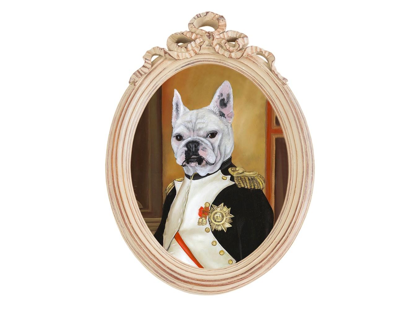 Репродукция гравюры Музейный экспонат, версия 12Картины<br>Прототипом персонажа коллекции &amp;quot;Музейный экспонат&amp;quot; послужил портрет  Наполеона в кабинете дворца Тюильри, написанный Жаком-Луи Давидом в 1812 году. Французский полководец предстает зрителю в рабочем кабинете, расположенном на первом этаже дворца, изображённый в скромной униформе полковника гренадеров гвардейской пехоты. Наряду с золотыми эполетами, на груди Наполеона красуются Знак ордена Почетного легиона (Большой крест), Знак ордена Железной Короны и Звезда ордена Почетного легиона.<br>Мягкие дизайны &amp;quot;прованса&amp;quot; дружественны многим интерьерным жанрам: английскому, греческому, романскому, классицизму, модерну, &amp;quot;ар-деко&amp;quot;, &amp;quot;кантри&amp;quot; и &amp;quot;шале&amp;quot;. Пастельный фон рамы эффектно акцентирует анималистичную репродукцию, подражающую ярким палитрам эпохи Возрождения. Эффектная стилизация - надежный инструмент интерьерного настроения.<br>Картинная рама &amp;quot;Бернадетт&amp;quot; - желанное интерьерное украшение гостиной, столовой, спальни, кабинета и детской комнаты, способное задать пространству стиль и достоинство. Классический бежевый цвет рамы - залог соседства с большинством предметов мебели и декора.&amp;amp;nbsp;<br><br>Material: Полистоун<br>Width см: 30,5<br>Depth см: 4,3<br>Height см: 43
