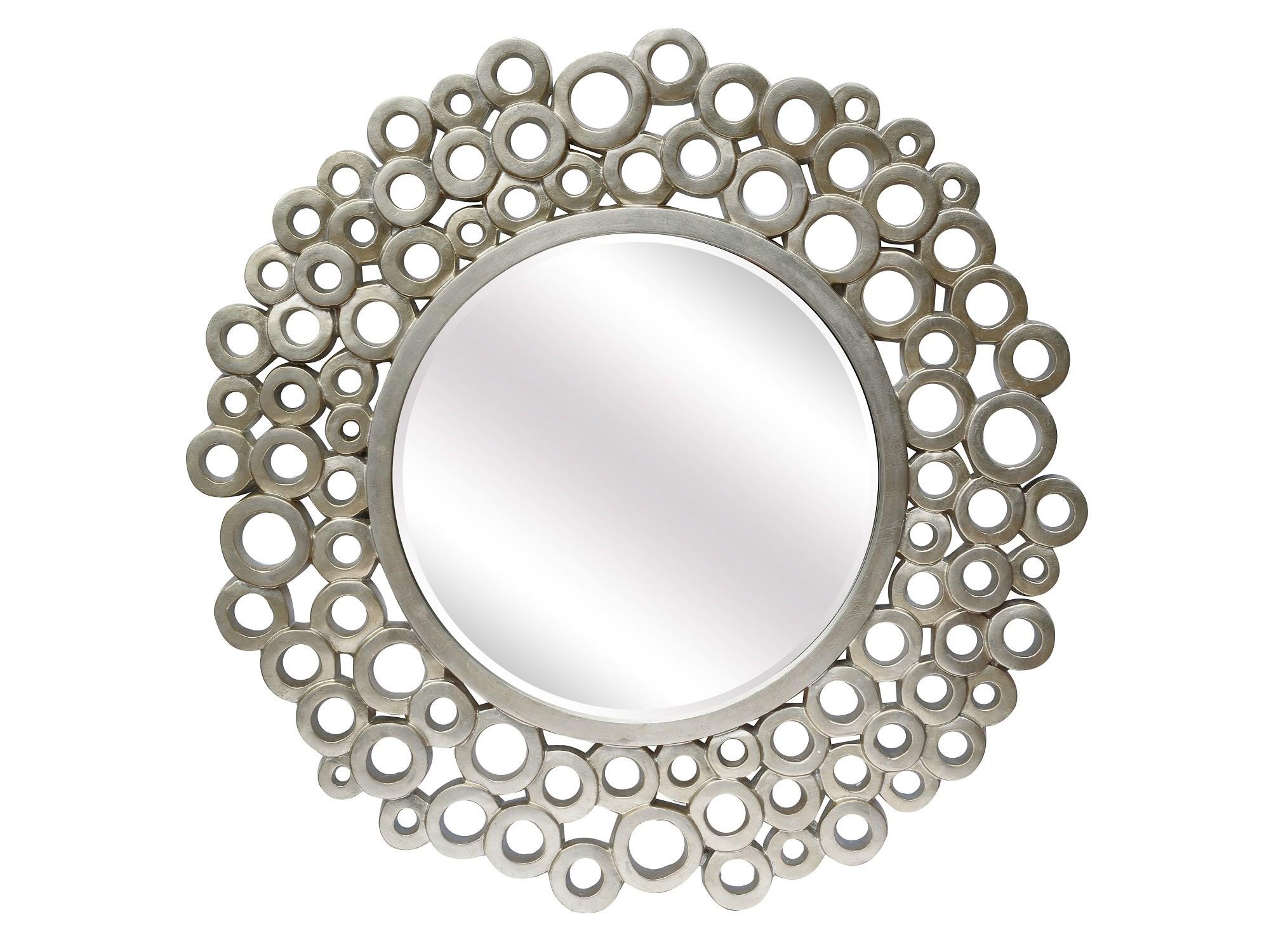 """Зеркало BubblesНастенные зеркала<br>Крупное круглое зеркало (более метра в диаметре) в оригинальной задорной раме """"в пузырях"""" подойдет для оформления смелого современного интерьера. Зеркало можно повесить в гостиной, спальне, прихожей в ярком молодежном интерьере.<br><br>Цвет: Серебро<br>Материал: Полиуретан<br><br>Material: Стекло<br>Length см: None<br>Width см: None<br>Depth см: None<br>Height см: None<br>Diameter см: 102.0"""