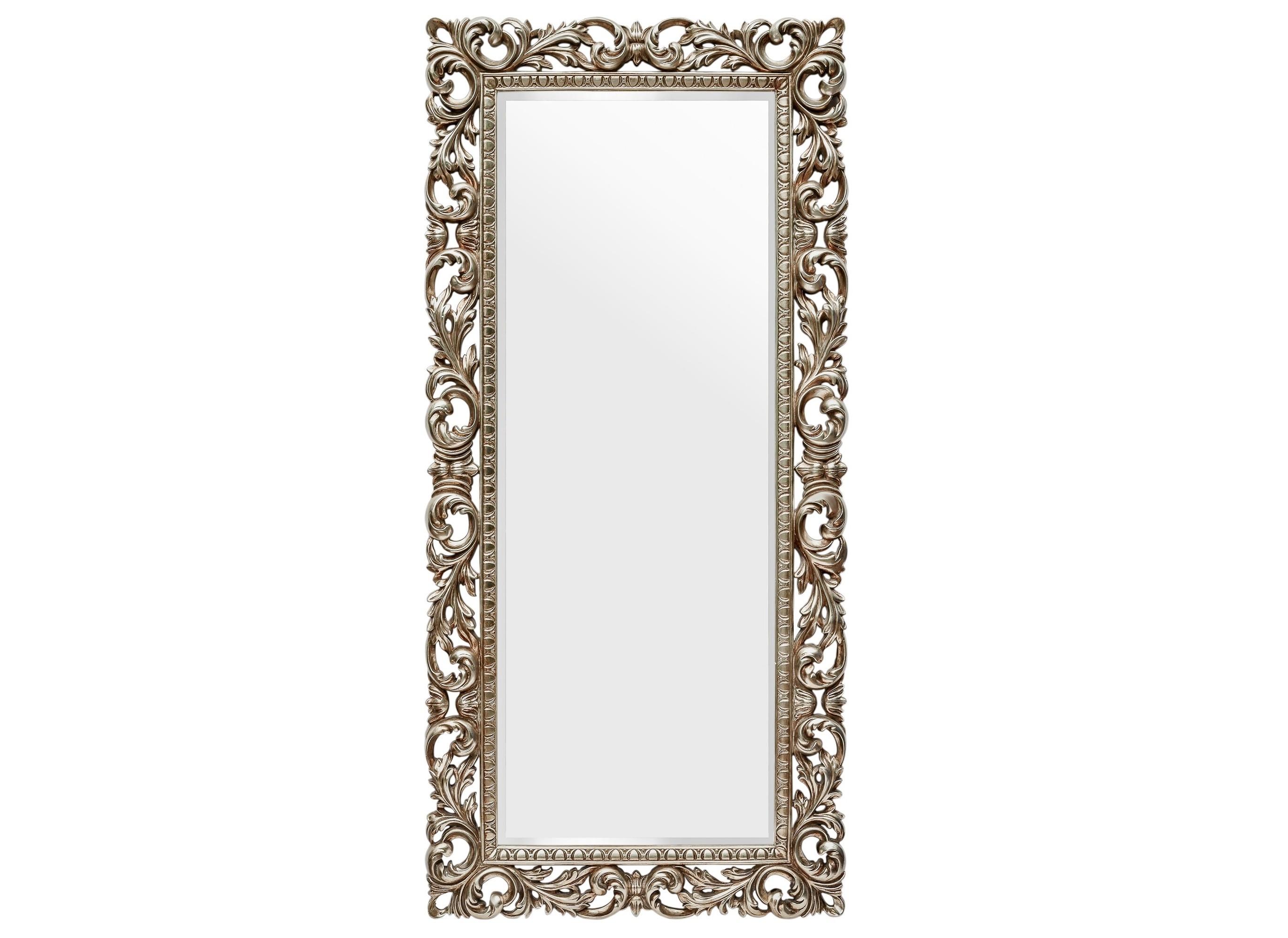Напольное зеркало Kingsley SilverНапольные зеркала<br>Kingsley Silver – роскошный декор для классического интерьера. Высокое зеркало визуально расширит пространство, придаст ему легкость. Такой предмет будет отлично смотреться как спальне, так и в гардеробной. Многосложный багет с изящными завитками и узорами дарит облику очарование. Рама выполнена в приятном оттенке под античное серебро с эффектом золотистого перелива. &amp;amp;nbsp; &amp;amp;nbsp;&amp;lt;div&amp;gt;&amp;lt;br&amp;gt;&amp;lt;/div&amp;gt;&amp;lt;div&amp;gt;Материал: полирезин, стекло.&amp;lt;br&amp;gt;&amp;lt;/div&amp;gt;<br><br>Material: Стекло<br>Length см: 90<br>Width см: None<br>Depth см: 5<br>Height см: 188<br>Diameter см: None