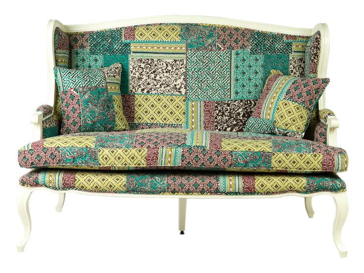 ДиванеткаДвухместные диваны<br>&amp;lt;div&amp;gt;Эта затейливая диванетка украсит дом, обставленный в кантри-стиле. Ковры, экотекстиль, изделия народного промысла станут ей достойными соседями. Мебельный каркас выточен из роскошного красного дерева. Обивка выполнена из натуральной хлопковой ткани и украшена принтом в стиле лоскутного шитья-пэчворка.&amp;lt;/div&amp;gt;<br><br>Material: Текстиль<br>Length см: 150<br>Width см: 80<br>Depth см: None<br>Height см: 104<br>Diameter см: None