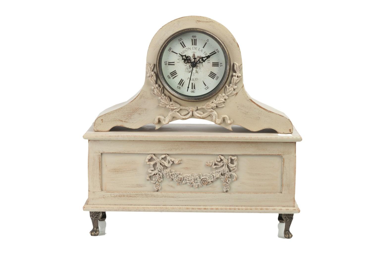 Настольные часы BahnhofНастольные часы<br>Настольные часы Bahnhof — многофункциональный элемент декора интерьера в стиле «Шебби-шик». С одной стороны, это уникальные и очаровательные часы, которые всегда подскажут вам время. С другой — шкатулка для хранения украшений или других ценных вещей. Она может стать вашим тайником. Аксессуар изготовлен из МДФ и стекла, по поверхности часов имеется изысканная резьба.&amp;lt;div&amp;gt;&amp;lt;br&amp;gt;&amp;lt;/div&amp;gt;&amp;lt;div&amp;gt;Материал: МДФ, Стекло.&amp;lt;br&amp;gt;&amp;lt;/div&amp;gt;<br><br>Material: МДФ<br>Length см: None<br>Width см: 33<br>Depth см: 15<br>Height см: 34<br>Diameter см: None