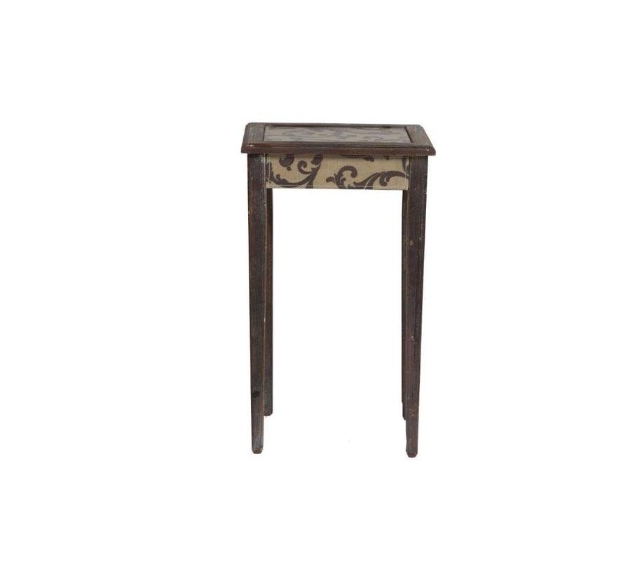 Кофейный столикКофейные столики<br>Этот кофейный столик выполнен в роскошной французской стилистике. Модель изготовлена с применением техники «состаривания». Такая вещь незаменима в интерьере, где необходимо подчеркнуть уют и душевность. Столик не оставляет впечатления запылившегося предмета с чердака, а выглядит изящно и романтично.&amp;amp;nbsp;<br><br>Material: Дерево<br>Length см: None<br>Width см: 36.5<br>Depth см: 30<br>Height см: 61<br>Diameter см: None