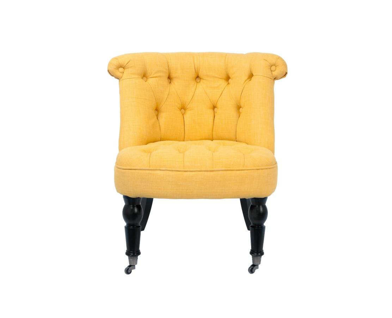 Кресло AvianaПолукресла<br>Аккуратное кресло с желтой обивкой &amp;amp;nbsp;в классическом стиле покорит любого! Невысокая закругленная спинка эффектно украшенная объемной стежкой и широкое мягкое сидение делают это кресло необычайно комфортным. Изделие сделано из натурального дуба, резные передние ножки оснащены небольшими колесиками для легкости перемещения. Такое милое кресло просто создано для того, чтобы дарить Вам тепло и уют.<br><br>Material: Лен<br>Ширина см: 70<br>Высота см: 72<br>Глубина см: 70