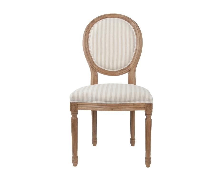 Стул Miro pinstripeОбеденные стулья<br>Изысканный стул Miro с округлой спинкой, напоминающей медальон, выполнен в элегантном классическом французском стиле. Основание модели выполнено из цельной породы древесины — массива дуба,искусственно состаренного.&amp;amp;nbsp;<br><br>Material: Дуб<br>Width см: 50<br>Depth см: 56<br>Height см: 98