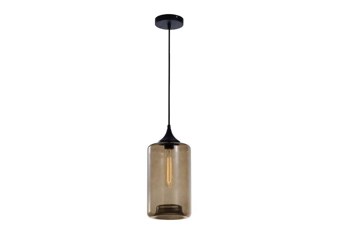Подвесной светильникПодвесные светильники<br>Металлическое основание, декоративный стеклянный плафон, мягкий подвес-провод черного цвета<br>Цвет стекла прозрачный коричневый<br><br>Основание D = 12 см, провод L = 150 см<br>Патрон E27, мощность max 1 х 60W&amp;amp;nbsp;<br><br>Material: Стекло<br>Высота см: 30