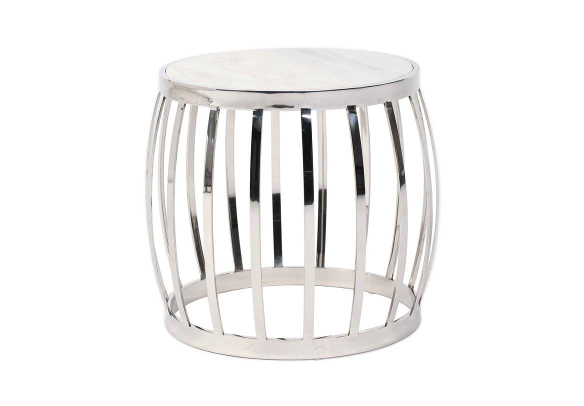 Стол COFFEE TABLEПриставные столики<br>Столик с выгнутыми ножками, напоминает бочку, только выполнен он из блестящей нержавеющей стали.<br>Отделка: Полированная сталь/мрамор<br><br>kit: None<br>gender: None