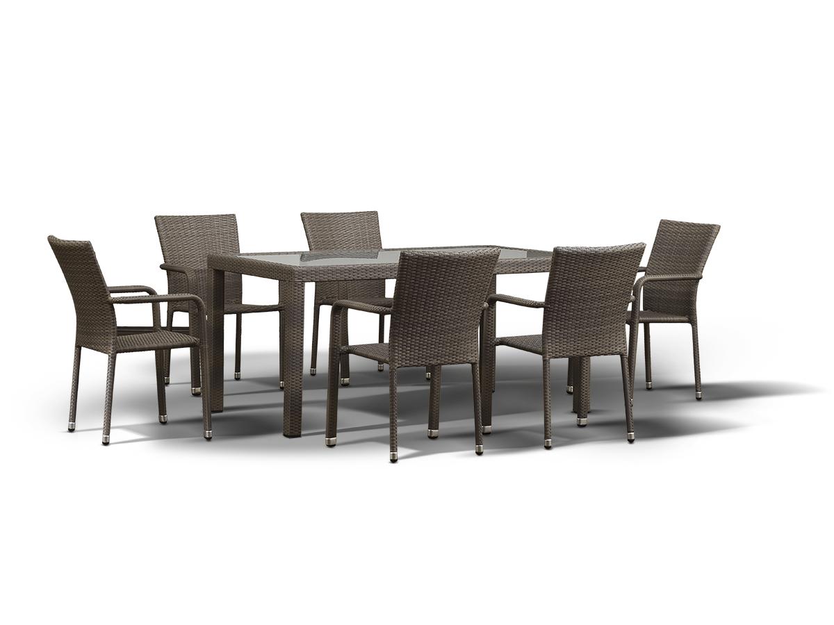 Обеденный комплект МиланКомплекты уличной мебели<br>&amp;lt;div&amp;gt;Обеденная группа на 6 персон, стол со стеклянной столешницой толщиной 5 мм., алюминиевый каркас, искусственный ротанг.&amp;amp;nbsp;&amp;lt;/div&amp;gt;&amp;lt;div&amp;gt;&amp;lt;br&amp;gt;&amp;lt;/div&amp;gt;&amp;lt;div&amp;gt;Габариты стула: 57х61х88 см;&amp;lt;/div&amp;gt;&amp;lt;div&amp;gt;Габариты стола: 150х75х90 см.&amp;lt;/div&amp;gt;<br><br>Material: Ротанг<br>Width см: 150<br>Depth см: 90<br>Height см: 75