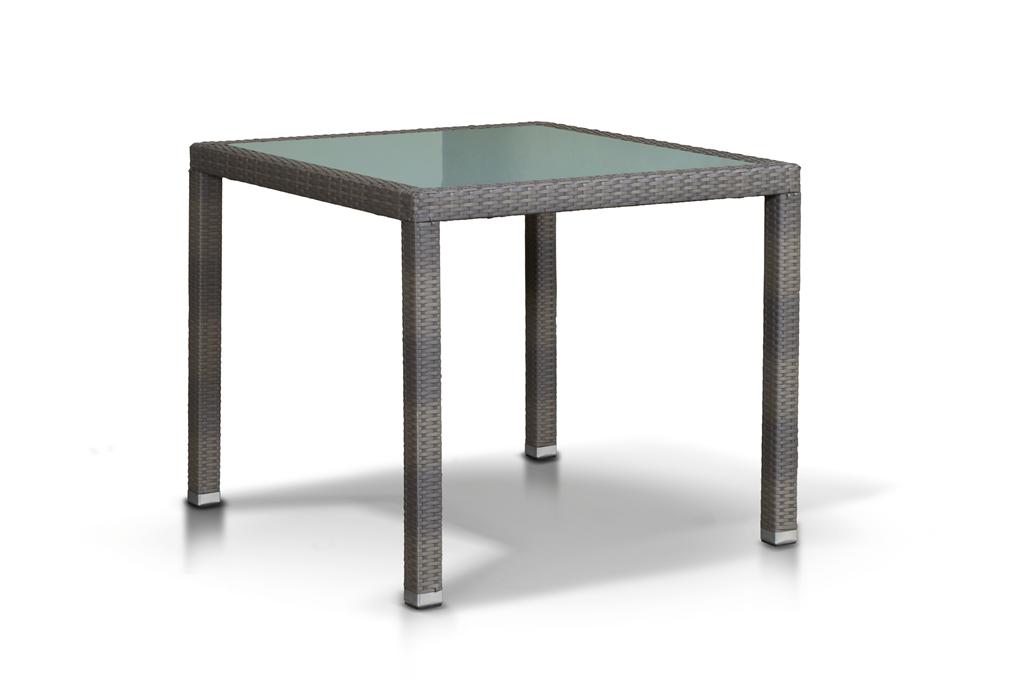 Стол БариСтолы и столики для сада<br>Стол со стеклянной накладкой толщиной 5 мм., алюминиевый каркас, искусственный ротанг.<br><br>Material: Искусственный ротанг<br>Length см: None<br>Width см: 90<br>Depth см: 90<br>Height см: 75<br>Diameter см: None