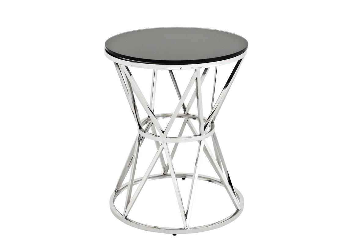 СтолПриставные столики<br>Столик Side Table Domingo L с основанием из полированной нержавеющей стали. Столешница выполнена из стекла черного цвета.<br><br>Material: Сталь<br>Высота см: 55