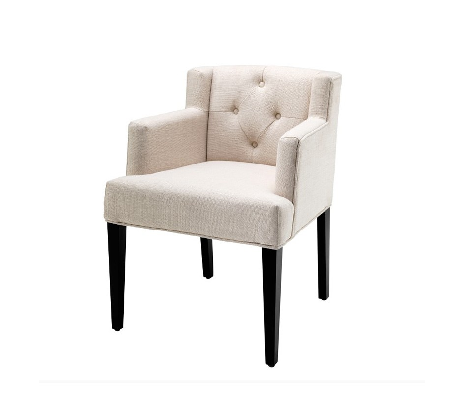 СтулПолукресла<br>Стул Chair Boca Raton с подлокотниками на деревянных черных ножках. Стул обтянут тканью молочного цвета. Спинка выполнена в технике &amp;amp;quot;Капитоне&amp;amp;quot;.<br><br>Material: Текстиль<br>Width см: 59<br>Depth см: 56<br>Height см: 78.5