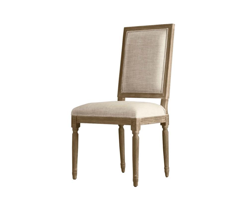 Стул OliverОбеденные стулья<br>Стул Brooks с мягкой спинкой и сиденьем — образец французского обеденного стула. Атмосферу старины усиливает неоклассическое оформление стула. Ручная работа проявляется в каждой детали изделия. Патинированный дуб, лежащий в основе модели, имеет стилизованную резьбу. Натуральный бельгийский лен добавляет в оформление стула завершающий и важный штрих.<br>Фурнитура:<br>- обивочный ткань – натуральный бельгийский лен;<br>- каркас – массив дуба;<br>- наполнение – пенополиуретан;<br>- ручная работа.<br><br>Material: Текстиль<br>Width см: 51<br>Depth см: 56<br>Height см: 102