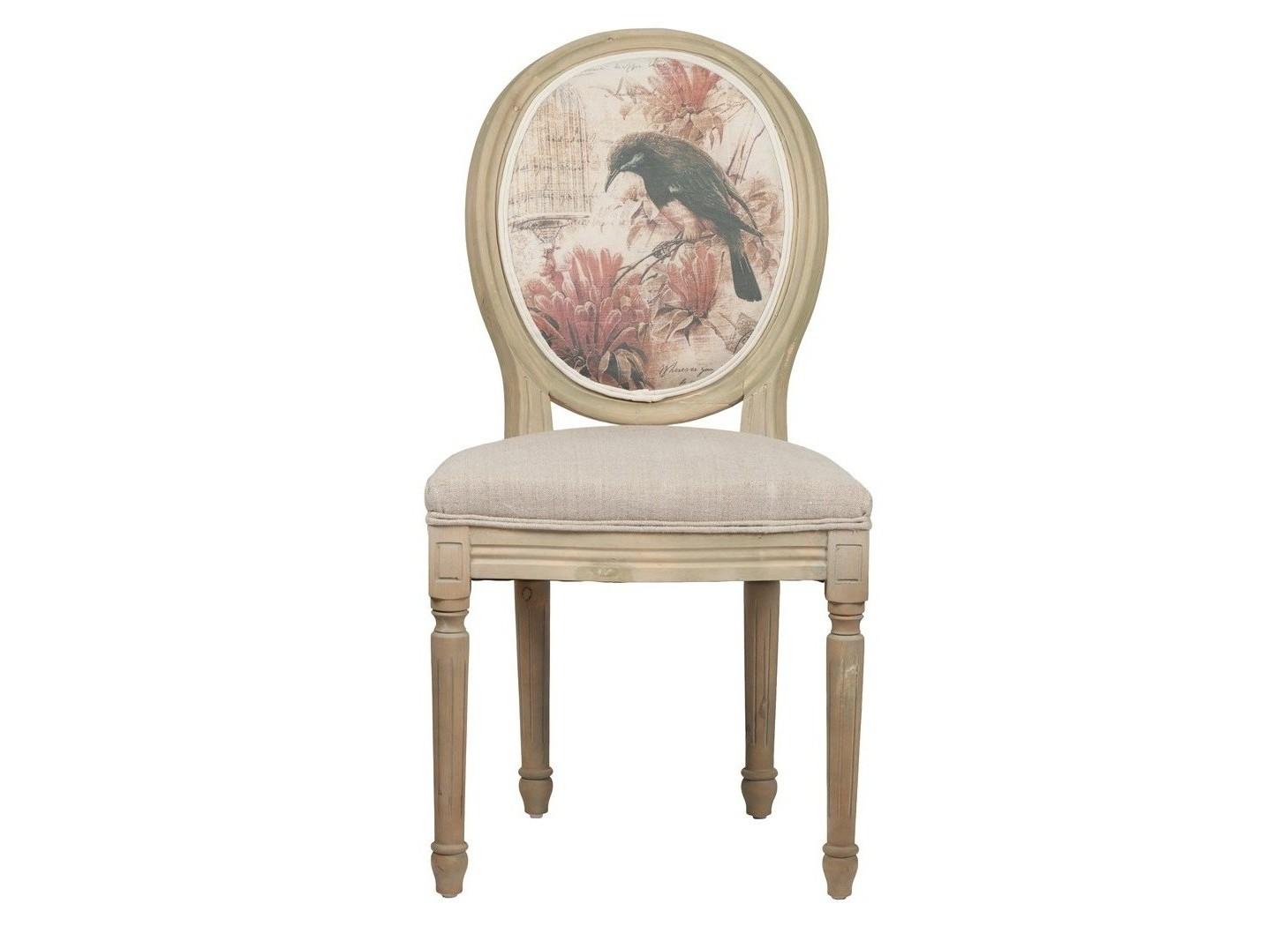 Стул  VenetaОбеденные стулья<br>Классический стул-медальон эпохи последнего, 16-го Людовика. Верх мебельной простоты и элегантности. Каркас из искусственно состаренного дерева, обивка из льна бежевого цвета и растительные мотивы на спинке придают дизайну легкость и утонченность.<br>Материал: Лен, деревянное основание (под антик), поролон<br><br>Material: Лен<br>Length см: 50<br>Width см: 56<br>Height см: 96