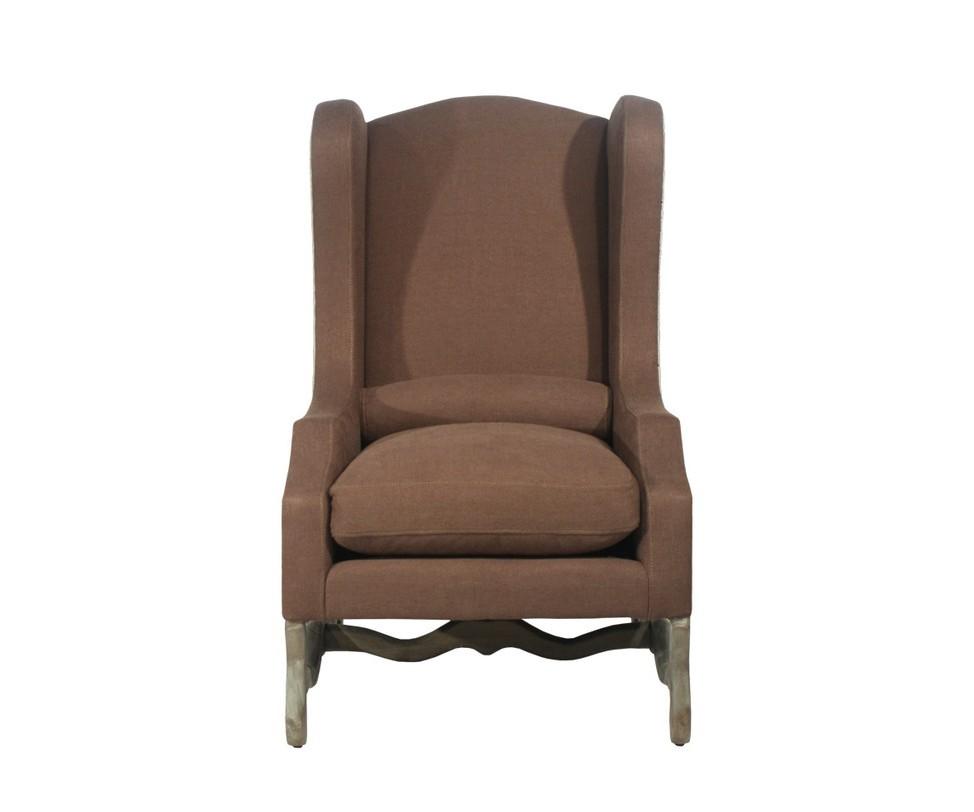 Кресло La MancheКресла с высокой спинкой<br>Высокое ушастое кресло на волнистых резных ножках. Снаружи обито светлым льном. С обратной стороны спинки вдоль швов идут тонкие линии мебельных гвоздиков. Внутренняя обивка выполнена из льна глубокого коричневого цвета. Боковины оформлены технической тканью, придающей креслу легкое очарование незавершенности и современный эклектичный акцент.<br><br>Material: Лен<br>Ширина см: 74<br>Высота см: 119<br>Глубина см: 86