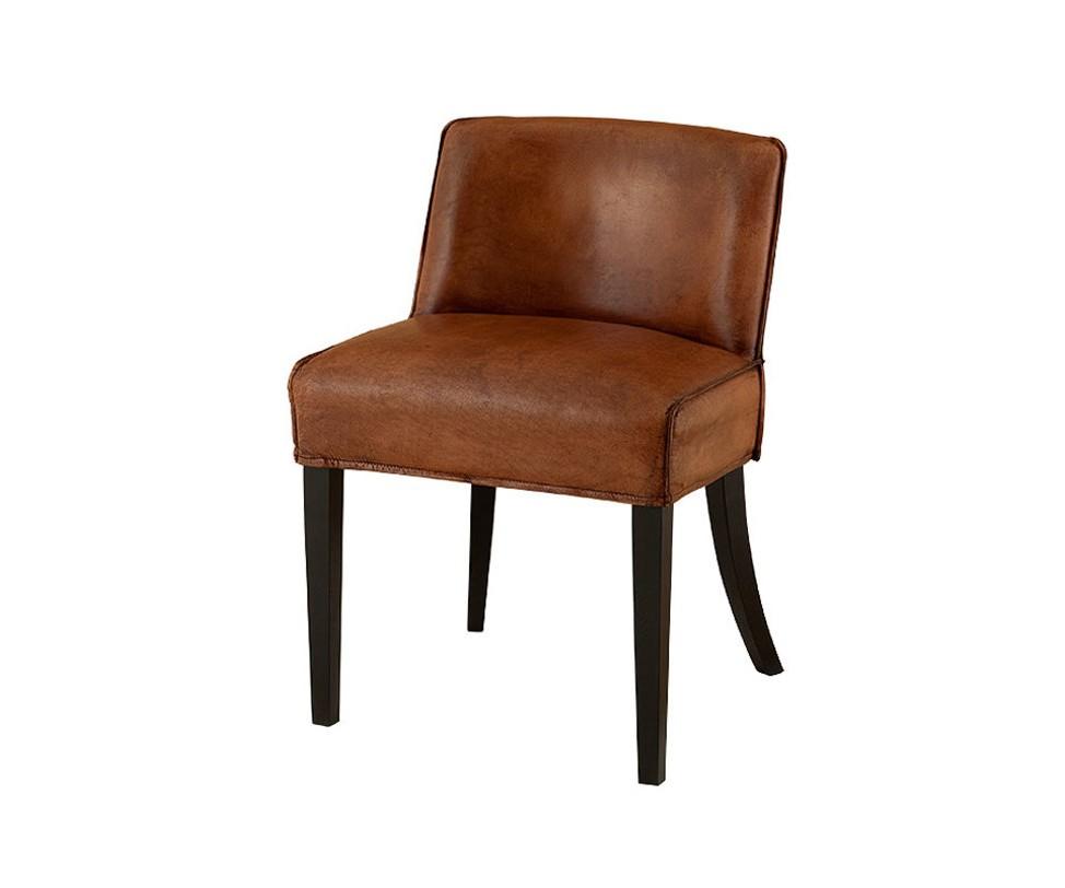 Стул Dining BarnesОбеденные стулья<br>Мягкий стул на деревянных ножках черного цвета. Кресло обтянуто кожей табачно-коричневого цвета.<br><br>Material: Кожа<br>Length см: 60<br>Width см: 55<br>Depth см: None<br>Height см: 79<br>Diameter см: None