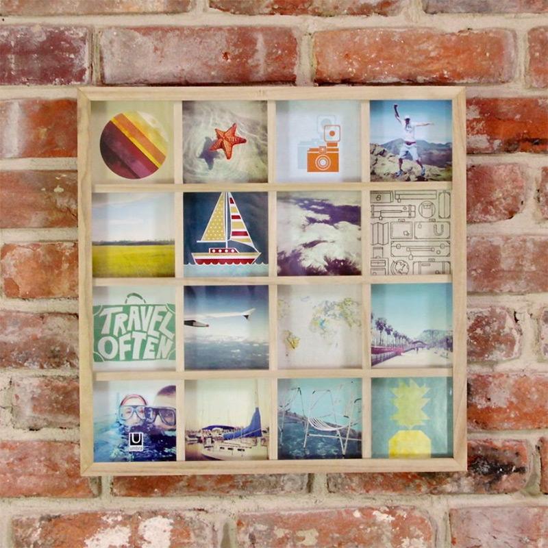 Панно для фотографий GridartРамки для фотографий<br>Одно фото - это ценное воспоминание об отпуске или о счастливом моменте в кругу близких. Но для воссоздания атмосферы больше - лучше! Панно для 16 фотографий поможет вам создать коллаж из самых счастливых жизненных моментов. Можно использовать фотографии, открытки, письма, вырезки из журналов и карты - настоящий полет фантазии!<br>Размер каждого фото - 10,2 х 10,2 см (просто обрежьте стандартные фотографии и поместите их под стекло).<br><br>Material: Дерево<br>Ширина см: 43<br>Высота см: 43<br>Глубина см: 2