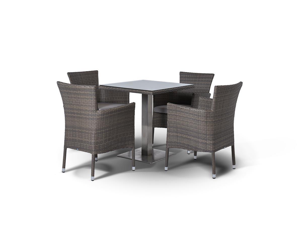 Обеденная группа КомпанияКомплекты уличной мебели<br>Обеденная группа на 4 персоны,<br>стол со стеклянной столешницой<br>толщиной 5 мм., алюминиевый<br>каркас, искусственный ротанг.<br>Все стулья с подлокотниками и<br>подушкой.&amp;lt;div&amp;gt;&amp;lt;br&amp;gt;&amp;lt;div&amp;gt;Стол Компания:<br>70х70х75 см.&amp;amp;nbsp;&amp;lt;/div&amp;gt;&amp;lt;div&amp;gt;Кресло Терни:<br>56х60х85 см&amp;lt;/div&amp;gt;&amp;lt;/div&amp;gt;<br><br>Material: Искусственный ротанг<br>Width см: 70<br>Depth см: 70<br>Height см: 75