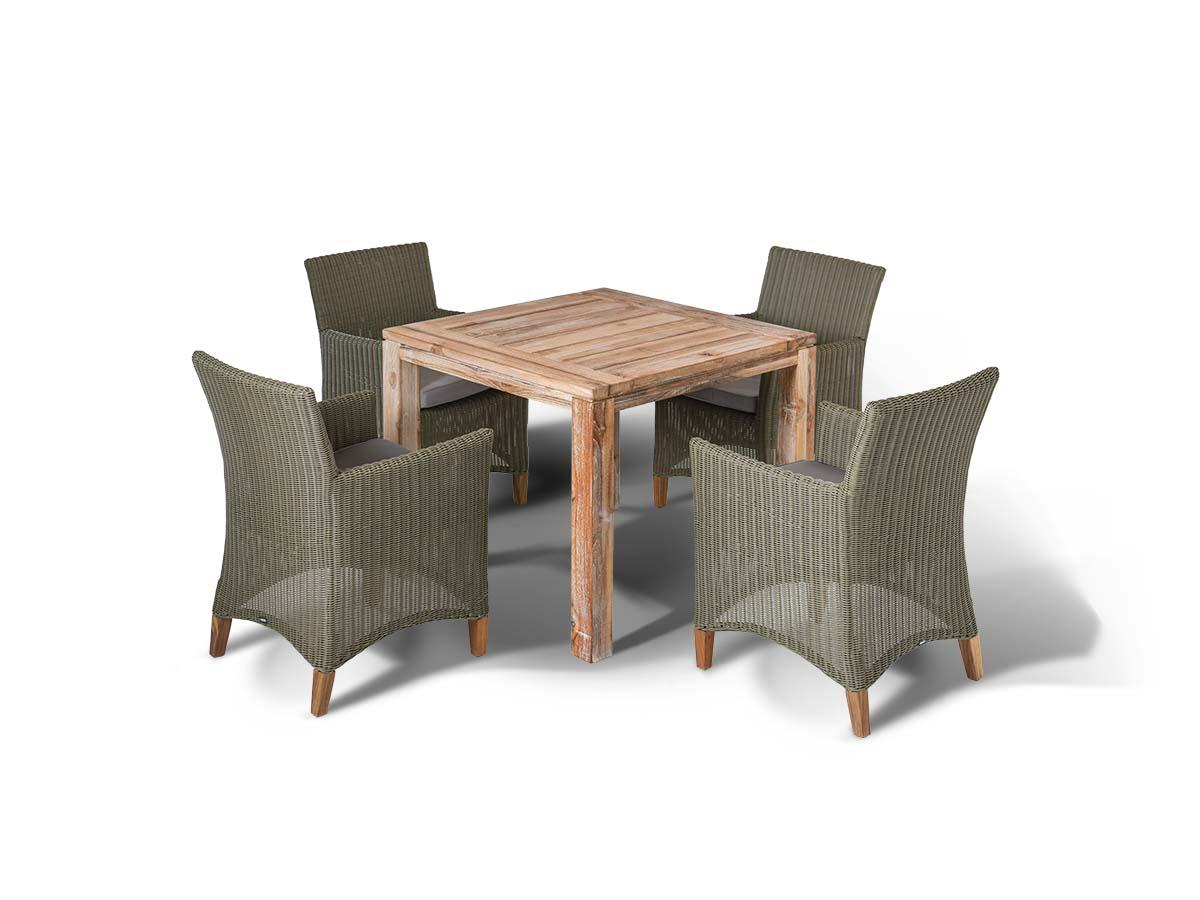 Обеденная группа ЛанаКомплекты уличной мебели<br>Обеденная группа на 4 персоны,<br>стол из тикового дерева.&amp;amp;nbsp;&amp;lt;div&amp;gt;Все<br>стулья с подлокотниками и<br>подушками, алюминиевый каркас,<br>искусственный ротанг.&amp;amp;nbsp;&amp;lt;/div&amp;gt;&amp;lt;div&amp;gt;&amp;lt;br&amp;gt;&amp;lt;/div&amp;gt;&amp;lt;div&amp;gt;Стол Виченца:<br>90х90х75 см.&amp;amp;nbsp;&amp;lt;div&amp;gt;Кресло Пестум<br>61х57х85 см&amp;lt;/div&amp;gt;&amp;lt;/div&amp;gt;<br><br>Material: Искусственный ротанг