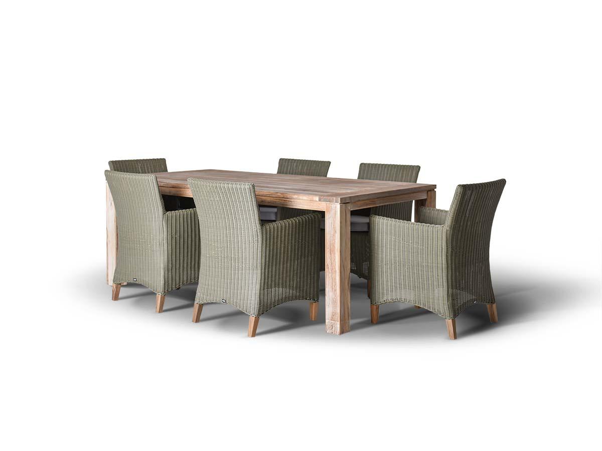Обеденная группа ПестумКомплекты уличной мебели<br>Обеденная группа на 6 персоны,<br>стол из тикового дерева. Все<br>стулья с подлокотниками и<br>подушками, алюминиевый каркас,<br>искусственный ротанг.&amp;amp;nbsp;&amp;lt;div&amp;gt;&amp;lt;br&amp;gt;&amp;lt;/div&amp;gt;&amp;lt;div&amp;gt;Стол Витория:<br>200х100х77 см.&amp;amp;nbsp;&amp;lt;/div&amp;gt;&amp;lt;div&amp;gt;Кресло Пестум<br>61х57х85 см&amp;lt;/div&amp;gt;<br><br>Material: Ротанг<br>Width см: 200<br>Depth см: 100<br>Height см: 77