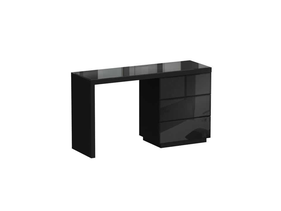Туалетный столик KristalТуалетные столики<br>Туалетный столик с тремя выдвижными ящиками. Столешница и фасадные стенки ящиков декорированы стеклом.  Стол может быть собран с правым или левым расположением тумбы с ящиками. Ящики открываются по принципу «нажал — открыл».<br><br>Material: ДСП<br>Width см: 134<br>Depth см: 46<br>Height см: 77
