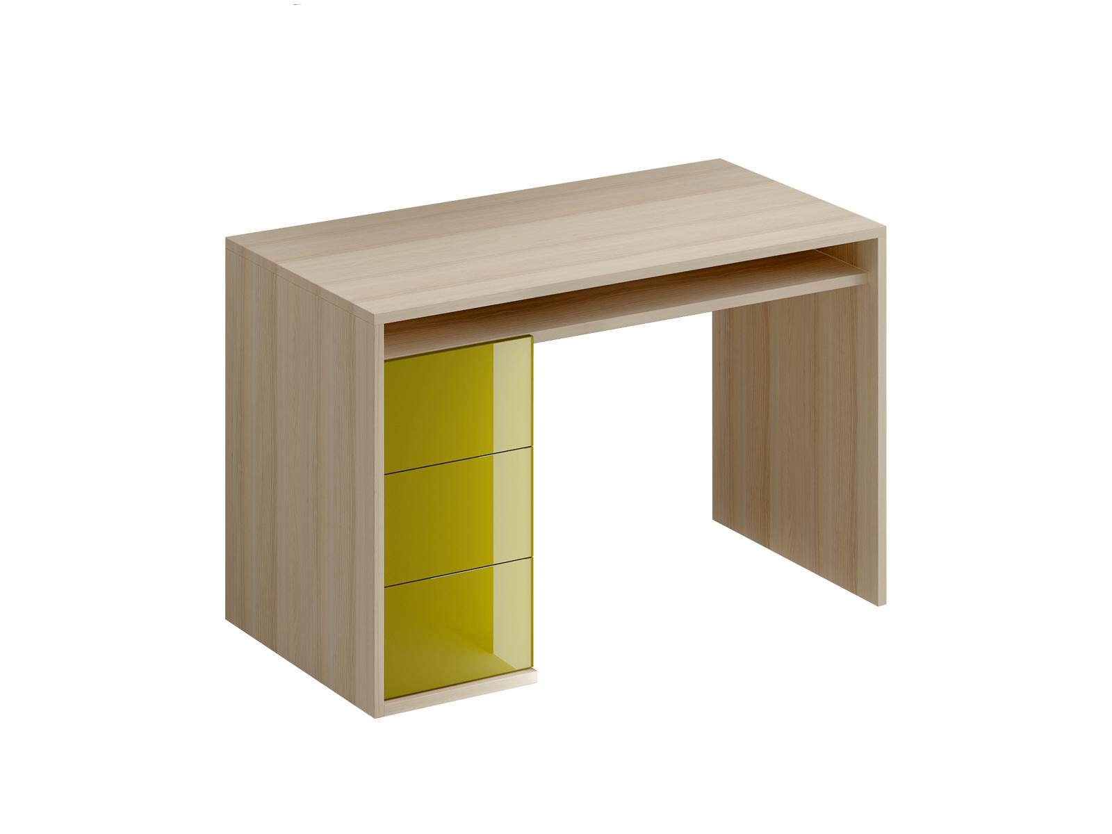 Стол письменный Mix PlusПисьменные столы<br>Стол письменный с одной тумбой. В тумбе расположено три выдвижных ящика. Под столешницей имеется ниша. В столешнице имеется отверствие для вывода кабеля.<br><br>Material: ДСП<br>Ширина см: 118<br>Высота см: 76<br>Глубина см: 60