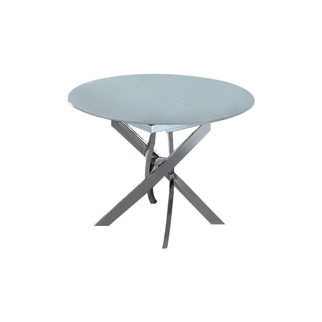 Стол В2303 белыйОбеденные столы<br>Требуется сборка.<br>Раскладывается до ширины 129 см.<br><br>Material: Стекло<br>Height см: 76<br>Diameter см: 100