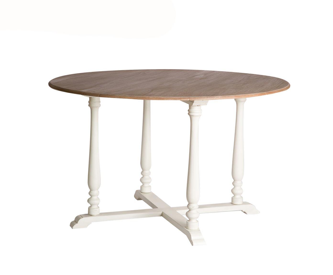 Обеденный столОбеденные столы<br>Круглый обеденный стол из массива красного дерева несравненно красив. Это благодаря мягкому контрасту между натуральным деревом, из которого выполнена столешница, и покрытием изогнутых, изящных ножек белого цвета с эффектом потертости. За таким столом будет приятно собраться всей семьей или в кругу любимых друзей.<br><br>Material: Красное дерево<br>Length см: None<br>Width см: None<br>Depth см: None<br>Height см: 78<br>Diameter см: 125
