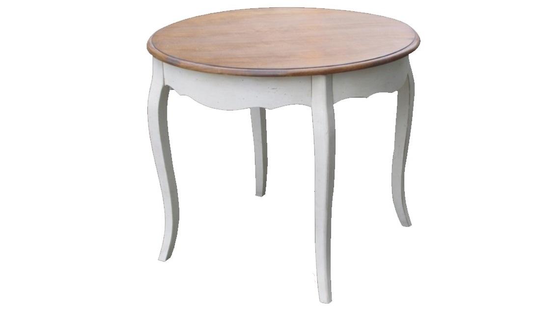 Стол обеденныйОбеденные столы<br>Форма круга выбрана для этого стола не случайно. Как символ гармонии, такой силуэт служит лучшим дополнением для прованского стиля. Он позволяет раскрыться его великолепию и добавляет романтизм дизайну. Изогнутые ножки из белой древесины придают изящество простому оформлению. Естественная красота натуральных материалов превосходно выглядит благодаря скромной отделке и отсутствию ярких деталей.<br><br>Material: Дерево<br>Ширина см: 120<br>Высота см: 76