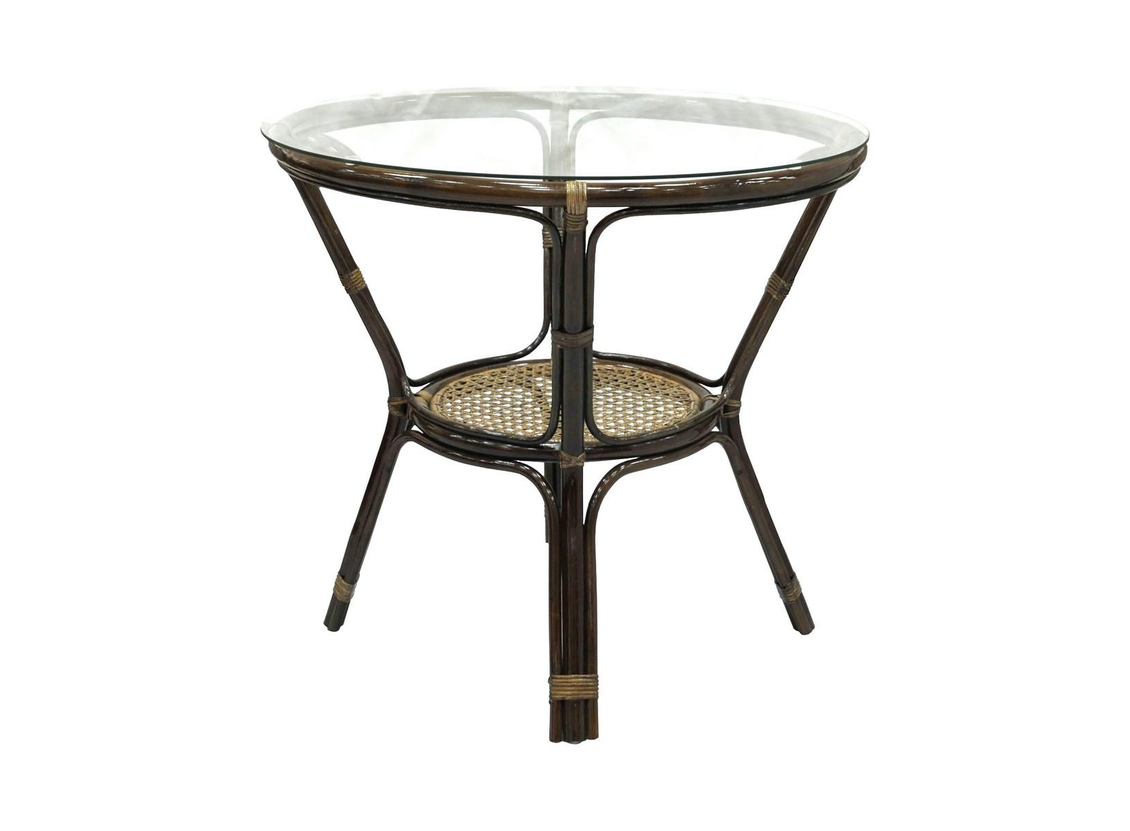 Стол обеденный EllenaСтолы и столики для сада<br>Простой дизайн впишется в любой интерьер. Стекло на присосках.<br><br>Material: Ротанг<br>Высота см: 75