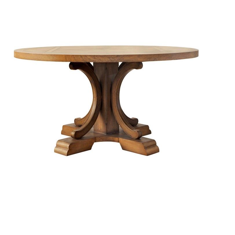 Стол AlfordОбеденные столы<br>Круглый обеденный стол - самый традиционный предмет обстановки. Дубовый стол Alford на массивной резной ножке - достойное дополнение классического респектабельного интерьера гостиной или столовой.<br><br>Material: Дуб<br>Length см: None<br>Width см: None<br>Depth см: None<br>Height см: 79<br>Diameter см: 150