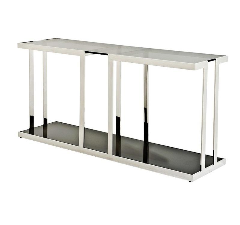 КонсольИнтерьерные консоли<br>Консоль Console Table Treasure на основании из нержавеющей стали. Столешница выполнена из плотного стекла дымчатого цвета, нижняя полка из стекла черного цвета.<br><br>Material: Стекло<br>Ширина см: 150.0<br>Высота см: 74.0<br>Глубина см: 40.0