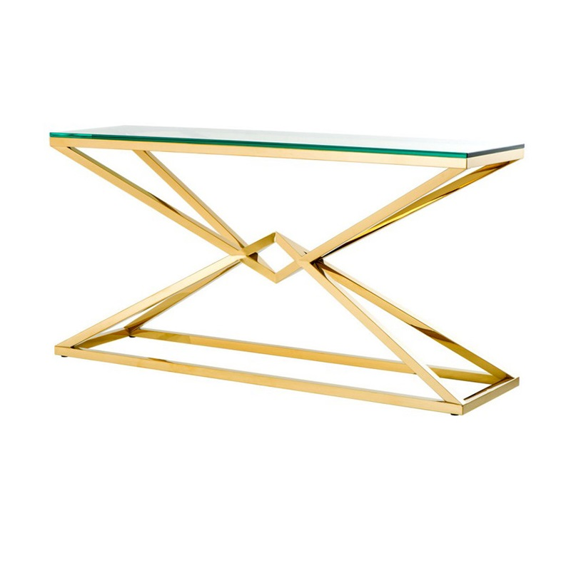 КонсольИнтерьерные консоли<br>Консоль Console Table Connor на металлическом основании золотого цвета. Столешница выполнена из плотного прозрачного стекла.<br><br>Material: Стекло<br>Width см: 150<br>Depth см: 40<br>Height см: 75,5