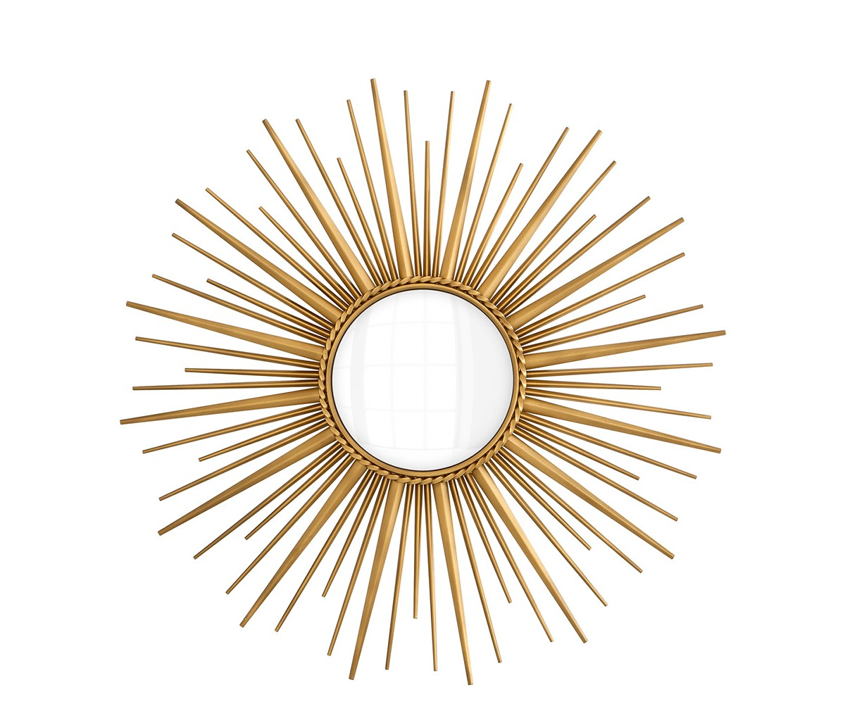 ЗеркалоНастенные зеркала<br>Зеркало Mirror Helios в металлической раме цвета латунь с оригинальным дизайном в виде солнца.<br><br>Material: Металл<br>Height см: None<br>Diameter см: 96