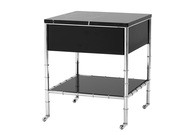 СтолСервировочные столики<br>Столик Side Table Superior на колесиках с каркасом из полированной нержавеющей стали. Столешница выполнена из черного мрамора. Полка из стекла черного цвета.<br><br>Material: Сталь<br>Width см: 50<br>Depth см: 50<br>Height см: 60