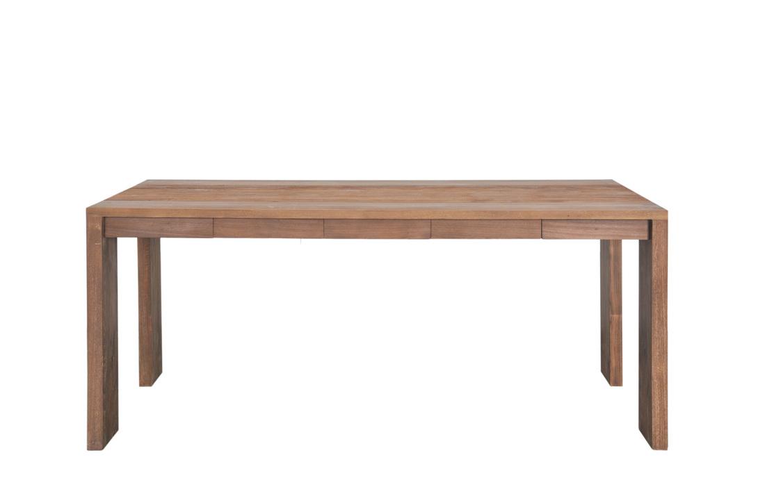 Стол обеденный Fiss 180Обеденные столы<br>Лаконичный стол с ножками, очень широкими с торца стола, и узкими со стороны его длинной части.<br><br>На скрепляющей ножки раме лежит простая столешница из массива.<br><br>Мебельная компания Teak house выпускает стильную, винтажную мебель из массива тика.<br>Компания старается сохранить неповторимую фактуру, красоту и жизненную силу натуральной поверхности дерева, подчеркнуть ее удивительный и уникальный рисунок, созданный самой природой.<br>О возможности изготовления данной модели на заказ уточняйте у оператора.<br><br>Material: Тик<br>Length см: None<br>Width см: 180.0<br>Depth см: 100.0<br>Height см: 78.0<br>Diameter см: None