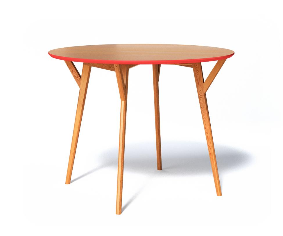 Обеденный стол CIRCLEОбеденные столы<br>Стол Circle такой естественный и скромный, как и полагается мебели в скандинавском стиле. Однако есть в нем своя изюминка – &amp;amp;nbsp;яркое кольцо из коралловой фаски, оборачивающей абсолютно круглую столешницу. Ножки стола вырезаны из массива и сохранили природный цвет и фактуру, а крышка выполнена из прочной плиты МДФ.<br>Срок изготовления 10 рабочих дней.<br><br>Material: Дерево<br>Высота см: 75