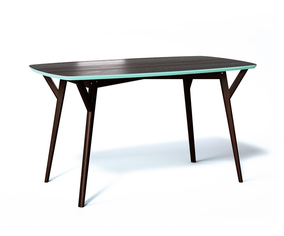 Обеденный стол PROSOОбеденные столы<br>Стол Proso из натурального дерева окрашен в темный, благородный оттенок, а яркая голубая фаска на торцевой части столешницы придает ему легкую, игривую нотку. Proso — универсальный предмет интерьера, простой и легкий и, одновременно, очень устойчивый. Его ножки крепятся к крышке при помощи дополнительных опор.<br>Срок изготовления 10 рабочих дней.<br><br>Material: Дерево<br>Length см: 140<br>Width см: 80<br>Depth см: None<br>Height см: 75<br>Diameter см: None