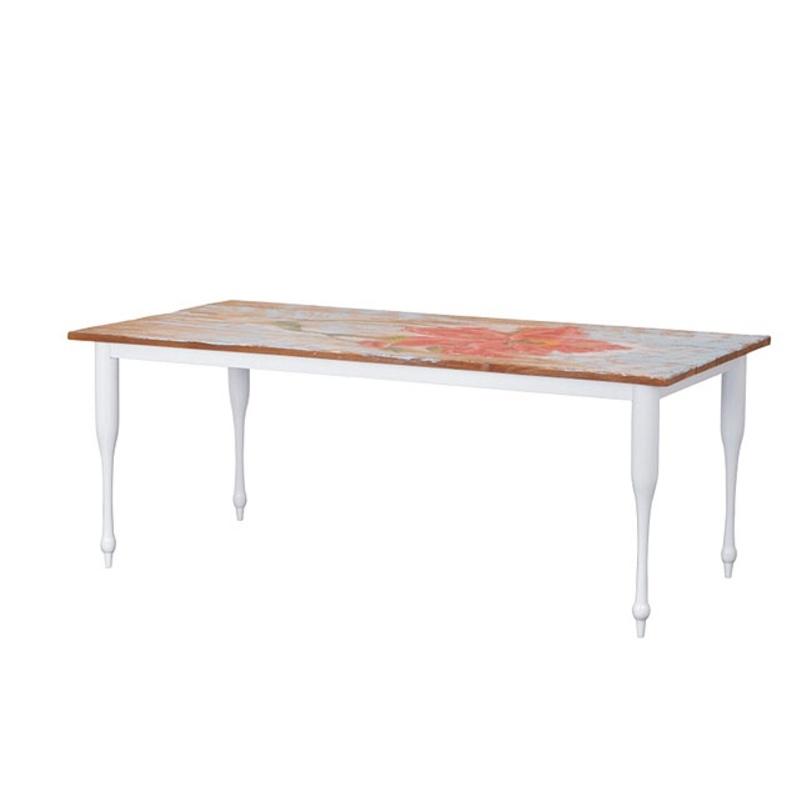 Стол обеденный  TOUCHОбеденные столы<br>Обеденный стол из массива тика в стиле кантри. Изящное основание окрашено в белый или черный цвет, а столешницей служит состаренный деревянный холст с изображением цветов в технике импрессионизма.<br><br>Возможны два варианта отделки hibiscus и tulip.<br>Цвет: ноги белого или черного цвета.<br><br>Material: Тик<br>Length см: 200.0<br>Width см: 90.0<br>Depth см: None<br>Height см: 78.0<br>Diameter см: None