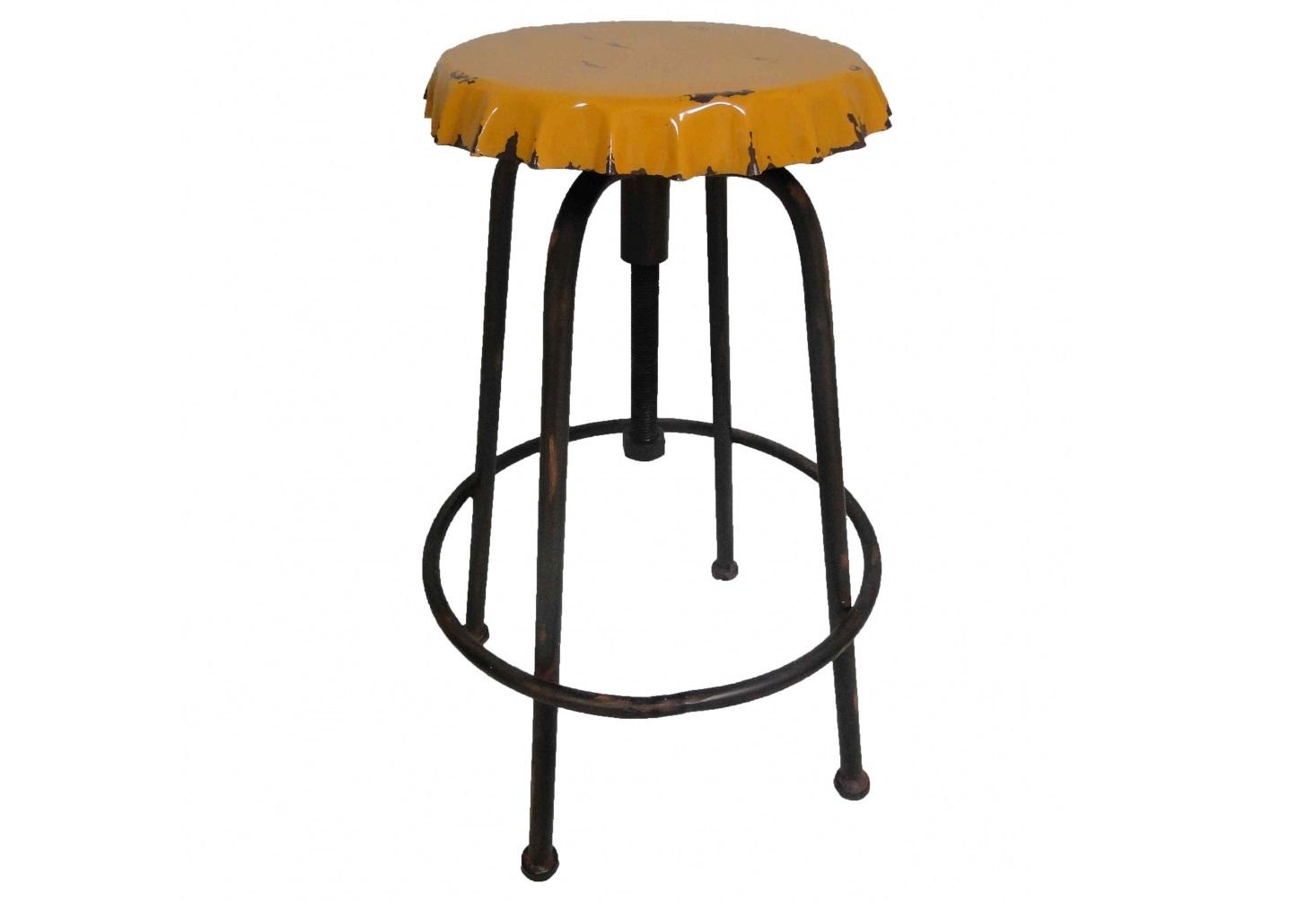 Табурет CapsuleТабуреты<br>Табурет &amp;quot;Deck&amp;quot; это по-настоящему стильное и оригинальное решение для вашего интерьера. Трапециевидное положение ножек в сочетании с круглой подставкой для ног обеспечивает устойчивость стула. Этот табурет станет  изюминкой любого помещения.<br>Каркас табурета желтого цвета, сиденье желтого цвета.&amp;amp;nbsp;<br><br>Material: Железо<br>Height см: 63<br>Diameter см: 41