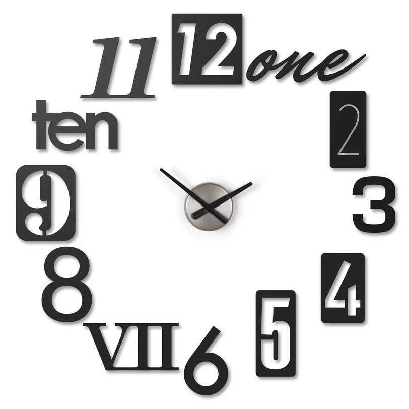 Креативные настенные часы NumbraНастенные часы<br>Каждая цифра циферблата -отдельный предмет. Вы можете сделать циферблат любой формы. Размер одного элемента 22*7,5<br><br>Material: Металл<br>Width см: None<br>Depth см: 7.5<br>Height см: None<br>Diameter см: 22